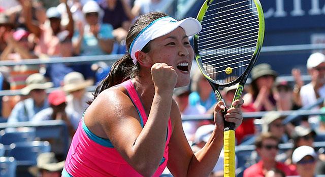Peng Shuai celebrates after beating fourth-seeded Agnieszka Radwanska. (USATSI)