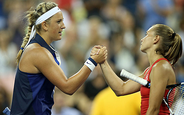 Victoria Azarenka, left, is moving on after a 4-6, 6-4, 6-4 win over Aleksandra Krunic. (USATSI)