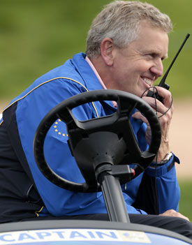 Colin Montgomerie says he didn't do any plotting to set the course up for his European team. (AP)