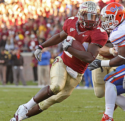 Florida State's Lonnie Pryor rushes for a nine-yard touchdown against Florida. (Getty Images)