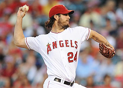 Dan Haren strikes out six and walks none to improve his AL-leading strikeout-to-walk ratio to 5.71.  (US Presswire)
