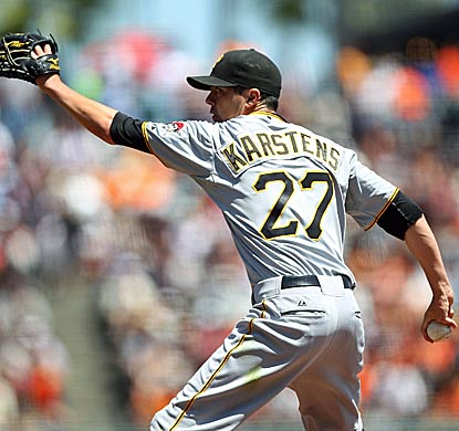 Jeff Karstens bounces back from his last start by striking out a career-high nine batters over six innings for the victory.  (Getty Images)