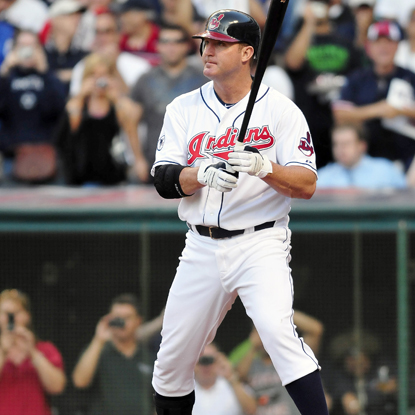In his first game back with Cleveland since 2002, Jim Thome goes 0 for 4 and strikes out twice.  (Getty Images)