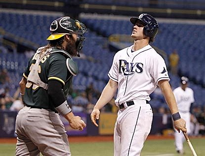 Wil Myers' strikeout ends a frustrating night for the host Rays, who lose despite one-hitting the Athletics.  (USATSI)